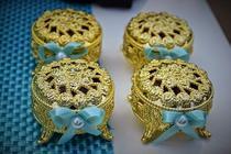 10 Porta Joia Caixinha Dourada Luxo Lembrancinha Festa - Marquesa Festas