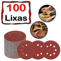 100 Discos De Lixa Auto Adesiva Colante 125mm 8 Furos Lixadeira Roto Orbital - Starfer