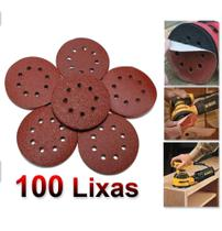 100 Discos Lixa 125mm 8 Furos Lixadeira Roto Orbital - Madeira Metal - Starfer