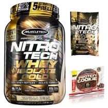 100 Whey Gold Isolado Nitro Tech 907g + Cookies + Dose Única - Muscletech