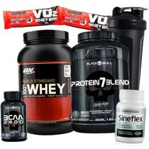 100% Whey Gold Standard 907g Isolado Concentrado Protein 7 Blend 837g Bcaa 2400 100caps Sineflex - Optimum nutrition