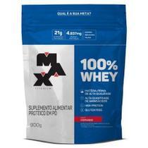 100% whey refil morango 900g - max titanium -