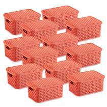 12 Caixas Organizadoras Rattan Pequena Cor Coral 20x25,5 cm - Nitron