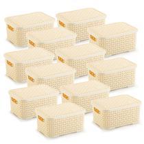 12 Caixas Organizadoras Rattan Pequena Cor Creme 20x25,5 cm - Nitron