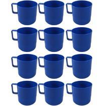 12 Canecas Copos Plásticos Escolar Refeitório Lanche Merenda Azul Marinho - Zanline