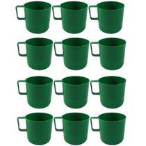 12 Canecas Copos Plásticos Escolar Refeitório Lanche Merenda Verde - Zanline