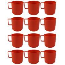 12 Canecas Copos Plásticos Escolar Refeitório Lanche Merenda Vermelho - Zanline