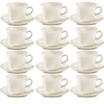 12 Conjuntos Xícaras Pires Corona Café Chá Cerâmica Branca -