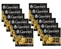 12 Encordoamentos Aço para Violão Giannini Cobra Geeflks 012 - King Musical