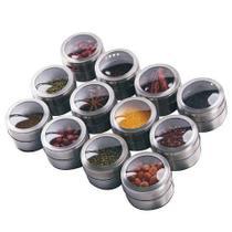 12 Porta Temperos Condimento Magnético inox - Open Trade