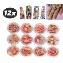 12 Potinhos Unha Frutas Decoração  / Unha Para Manicure Nail Arts - Zem