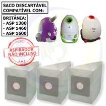 12 Saco Descartável para Aspirador Britânia Asp Modelos: 1380 / 1460 / 1600 -