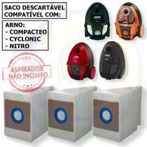 12 Saco Descartável para Aspirador De Pó Arno Modelos: Compacteo / Cyclonic / Nitro -