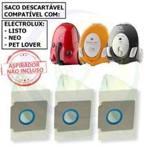 12 Saco Descartável para Aspirador De Pó Electrolux Listo / Neo / Pet Lover -