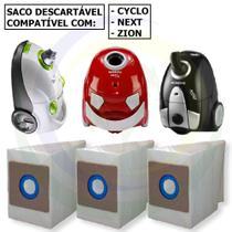 12 Saco Descartável para Aspirador de Pó Mondial Cyclo / Next / Zion -
