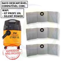 12 Saco Descartável para Aspirador de Pó Wap Silent Power / GT Profi 10l -