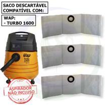 12 Saco Descartável para Aspirador de Pó Wap Turbo 1600 -