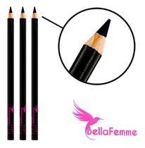 12 Un Lápis De Olho Preto Com Tampa Apontador Bella Femme -