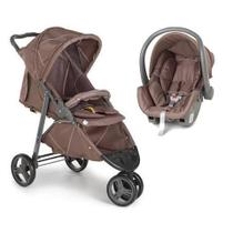 1430CHT Carrinho Travel System Cross + Cocoon Chocolate Galzerano