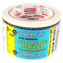 18 Fitas Dupla Face Transparente 12 mm X 30 m Adelbras -