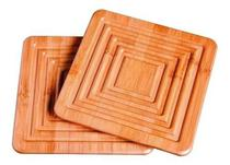 2 Apoio De Panela Mor Bamboo -