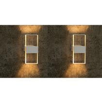 2 Arandela Interna Branca Aluminio e Acrilico Corredor Sala Ali18 - Acende a Luz