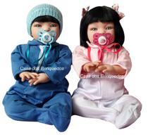 2 Bebê Verdade Realista Reborn Casal De Gêmeos Morenos -