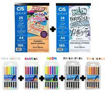 2 Blocos Exercicio Cis + Kit C/30 Canetas Brush Aquarelavel -