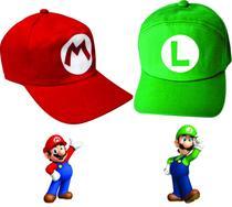 2 Bonés Estampado Super Mario E Luigi Adulto Ou Infantil - Kma Variedades