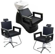 2 Cadeiras Reclinável + 1 Lavatório Porcelana Square Dompel -