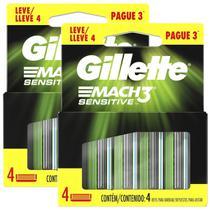2 Cargas Gillette Mach3 Sensitive Refil C/ 4 Lâminas -