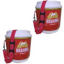 2 Coolers Térmico Brahma Brasil 20 Litros 12 Latas com Alça de Transporte - Ambev