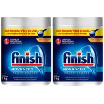 2 Detergentes Em Pó Máquina De Lavar Louças Power Finish 1kg -