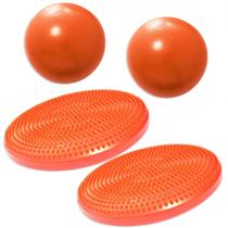 2 Discos Inflaveis de Equilibrio + 2 Overballs para Pilates 25cm Laranja  Liveup -