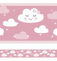 2 Faixas Decorativa Infantil Papel Parede Chuva Nuvem Rosê - Samydecor