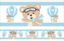2 Faixas Decorativa Infantil Papel Parede Urso Baloeiro Azul - SAMYDECOR