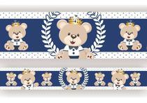 2 Faixas Decorativa Infantil Papel Parede Urso Príncipe Azul Marinho - SAMYDECOR