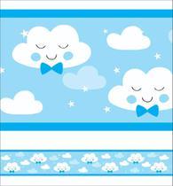 2 Faixas Decorativas Infantil Papel Parede Chuva Nuvem Menino - Samydecor
