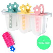 2 Formas sorvetes picolés gelo Livre BPA infantil máximo 12 picolés - Sanremo
