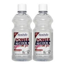 2 Frascos Power Álcool Em Gel 70º Inpm 450g Biotchelly -