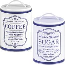 2 Lata Coffee Sugar Porta Café Açúcar Pote Retrô Vintage a/a - Bella tavola
