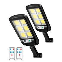 2 Luminária Solar para Poste Parede Rua com Controle Remoto Branco Frio - DS