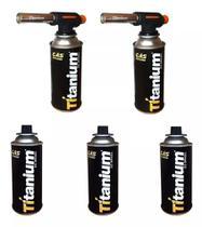 2 Maçarico Portátil 5 Gas Com Regulagem Gourmet Culinário TITANIUM-5253 -