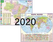 2 Mapa: Mundi + Brasil Escolar 2020 - Rodoviario Estatistico Escolar - Multimapas