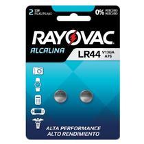 2 Pilhas Baterias Lr44 A76 Ag13 Alcalina Rayovac 1 Cartela -