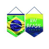 2 Placas P/Porta Vai Brasil 30X40Cm Dec. Festas - Cromus