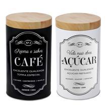 2 Pote Lata Porta Mantimento Redondo Açúcar Café 10x15.7cm - Fwb