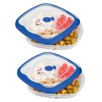 2 potes quadrado plástico para mantimentos 1500ml fruta doce comida petisqueira marmita Sanremo flor -