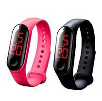 2 Relógios Digitais de LED com Pulseira de Silicone Sport Adulto Infantil Preto e Rosa - Sm