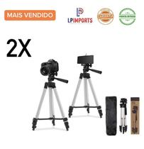 2 Tripé Telescópio Universal Completo 1,2m Bolsa e Suporte Para Celular Câmera Grava Vídeo Tira Foto Home Office Youtube - VISION